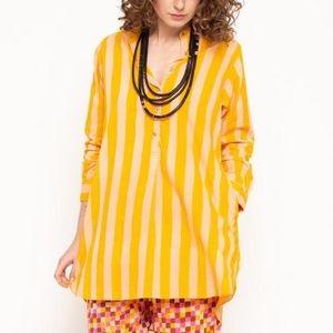 Matta Bijal Riviera yellow striped tunic top with pockets L